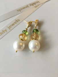 white pearl citrine peridot earrings