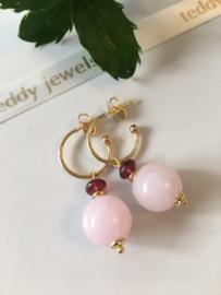rozenkwarts rhodoliet granaat oorbellen