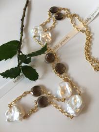 baroque keshi pearl smoky quartz necklace