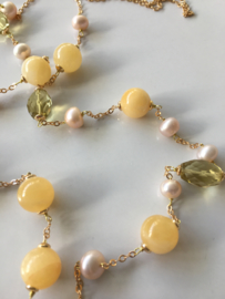 yellow aventurine lemon quartz and light pink pearls necklace