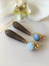 blauwe opaal grijze agaat oorbellen