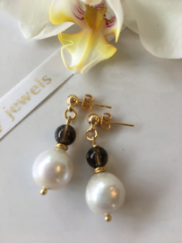 white Edison pearl with smokey quartz earrings