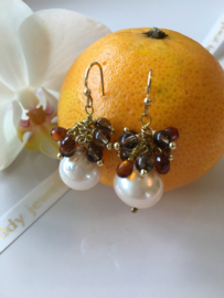light salmon pearl with smoky quartz and madeira citrine