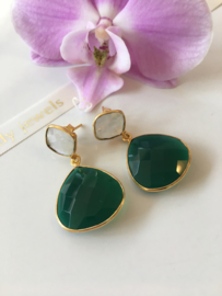green onyx with rainbow moonstone (drop and kite stones) earrings