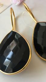 zwarte onyx drop oorbellen