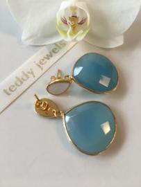 blue chalcedony creamy white enamel earrings