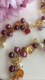 tutti frutti pearl gemstone necklace