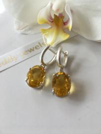 citrien oorbellen (zilver)