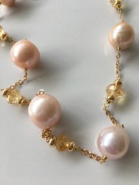 goldenpink pearls with citrine necklace