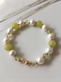 white pearl peridot lemon quartz bracelet