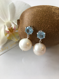 facet cut round blue topaz white pearl earrings (platinum plated)