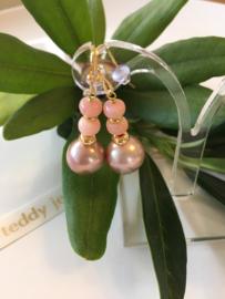 pinkpurple pearl with pink opal earrings