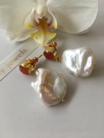 carnelian white keshi pearl earrings