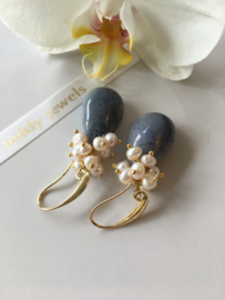 blue quartz with ivory pearls