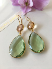 green quartz with champagne quartz earrings