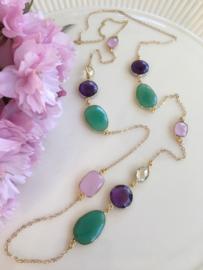 green chrysoprase amethyst pink chalcedony and lemon quartz necklace