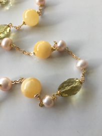 yellow aventurine lemon quartz and light pink pearls necklace