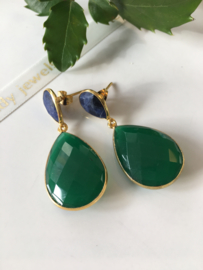 sodalite green onyx dangle earrings