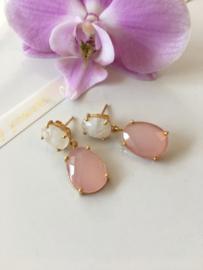 roze chalcedoon met maansteen oorbellen