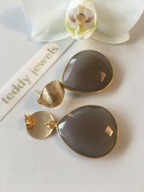 grey chalcedony earrings