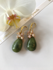 Chinese jade with pink opal earrings