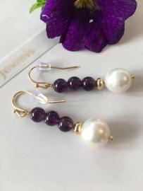 pearl amethyst drop earrings