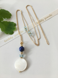 mother of pearl aquamarine lapis lazuli necklace