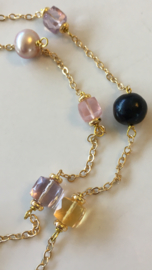 black and purple pearls with rose quartz, citrine and pink amethyst necklace