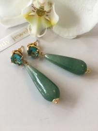 blue quartz green aventurine earrings