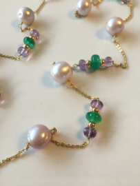 long purple pearl with faceted amethyst and green onyx necklace