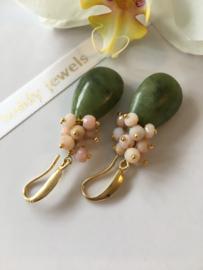 Chinese jade met roze opaal oorbellen