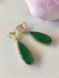 oorbellen rozenkwarts groene onyx