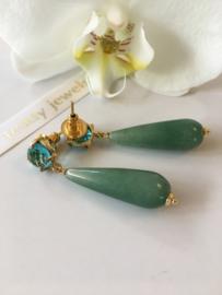 blauwe kwarts met groene aventurijn oorbellen