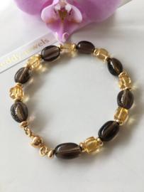 smoky quartz citrine bracelet