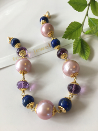 parelarmband paarse parels amethist lapis lazuli
