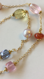 multi gemstone white and purple pearls necklace