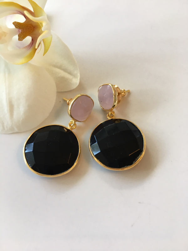 pink chalcedony and black onyx earrings