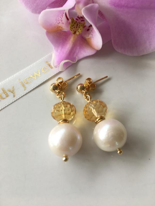white Edison pearl faceted citrine earrings