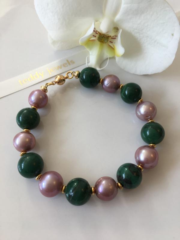 purple pearls african jade bracelet