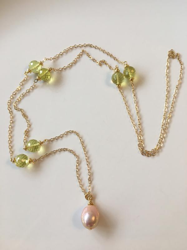 Lemon quartz pink pearl necklace