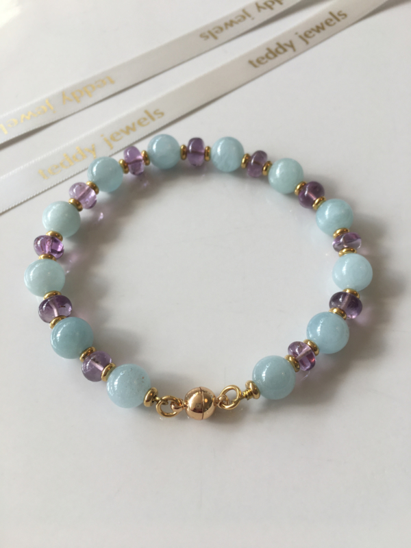 aquamarine smooth amethyst bracelet