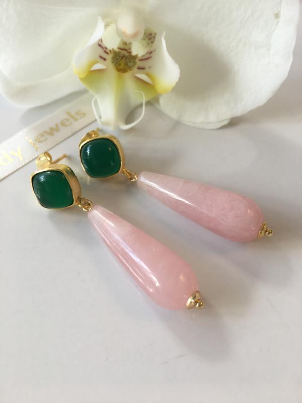 groene onyx rozenkwarts oorbellen