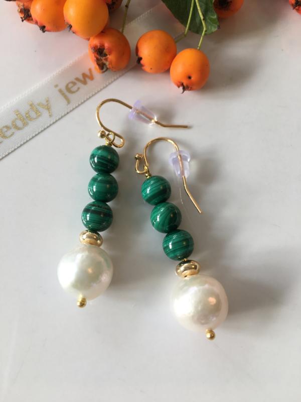 pearl malachite dangle earrings