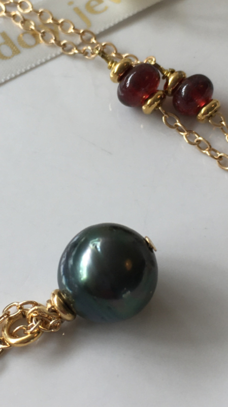 grey green pearl red garnet necklace