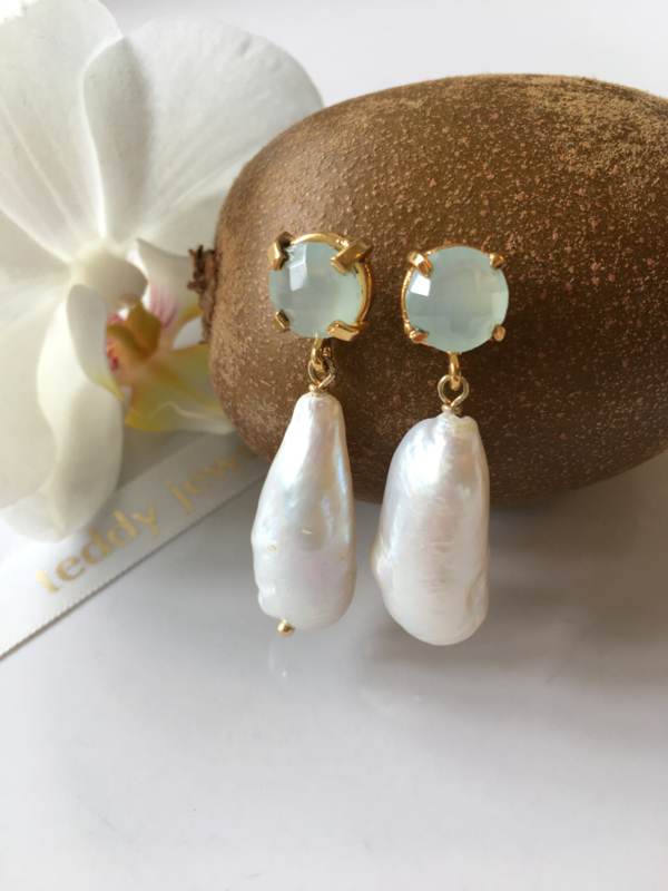 sea green chalcedony large white pearl drop earrings