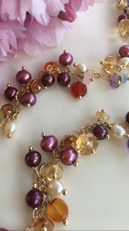 tutti frutti pearl gemstone necklace