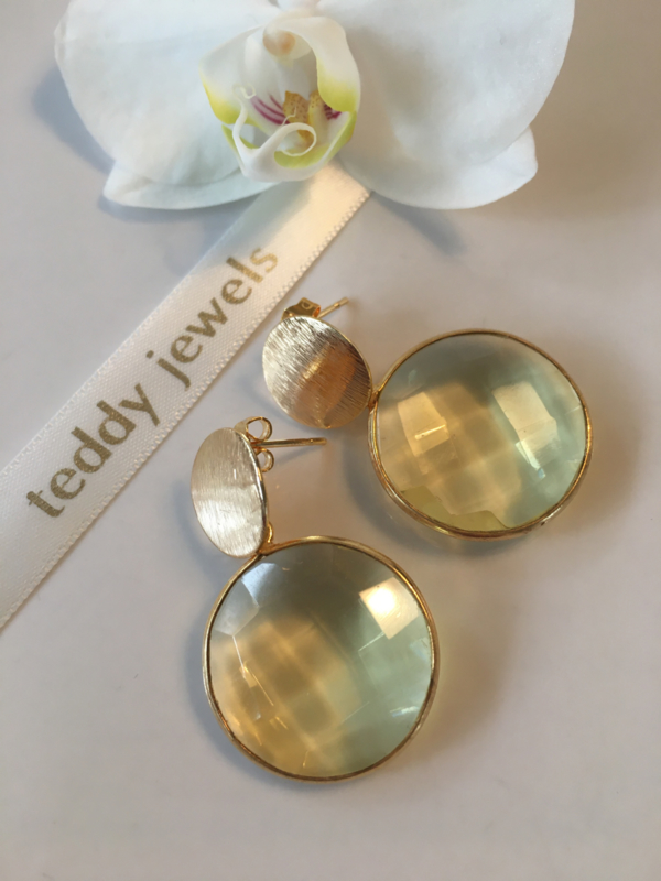 faceted lemon quartz gold plated earrings