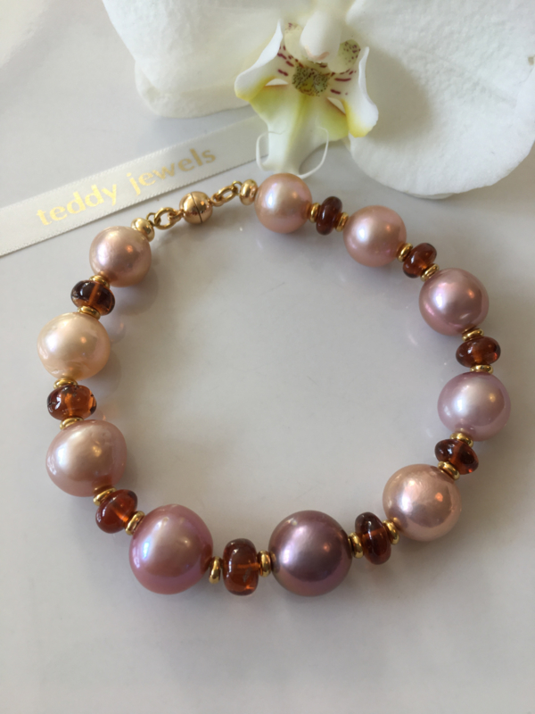 purple pink champagne pearls and hessonite garnet bracelet