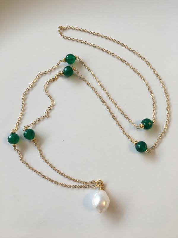 parelketting met groene onyx