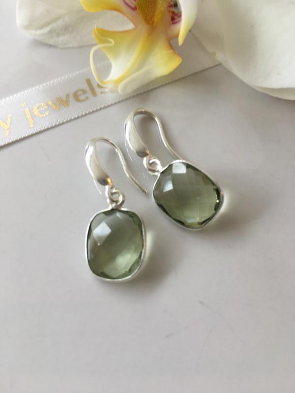 green amethyst silver earrings